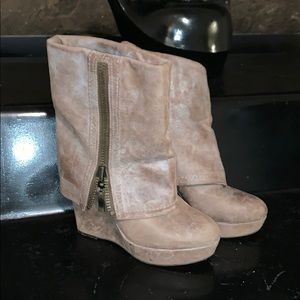 Steven by Steve Madden Brix Wedge Boots Stone 8